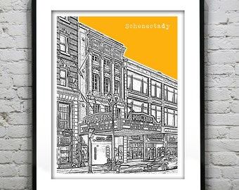 1 Day Only Sale 10% Off - Schenectady New York Skyline Poster Art Print Downtown New York NY Version 5