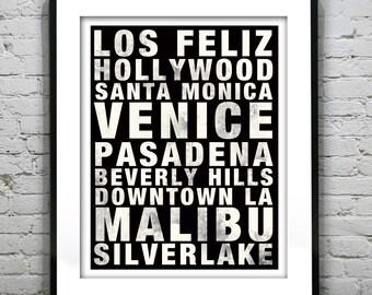 Los Angeles LA Subway Poster Art Print California CA