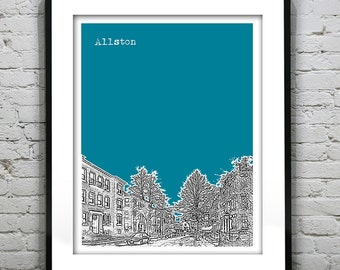 Allston Massachusetts Skyline Poster Art Print MA