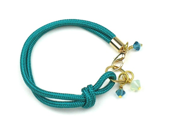 Green Rope Bracelet in Knotted Teal Mokuba Cord and Swarovski Crystal Charms / Gift for Her by elle and belle