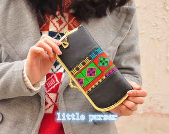 Handmade Embroidered Bag,Chinese Embroidery Bag with a bell, peach red,Wristle Bag, Purse, Wallet and Cellphone Bag