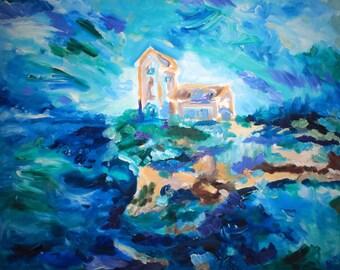 Original Art Print. Ocean Tower house Original Oil Painting by BrandanC.