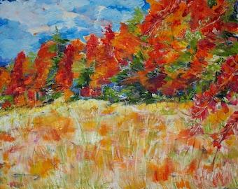 Original Art Print. Fall Trees Field Landscape Original oil painting by BrandanC