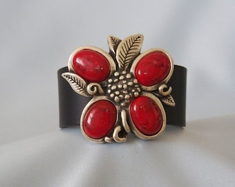 Red Flower Leather Bracelet