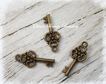 Key Charm . 22 x 10 mm . Antiqued Bronze . 10 for you