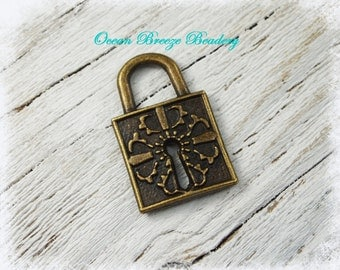 Lock Charm Pendant . 6 for you . Antiqued Bronze . 27 x 17mm