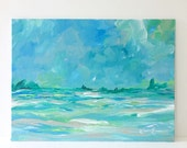 Abstract landscape painting acrylic on canvas board 9x12 green blue pink modern art