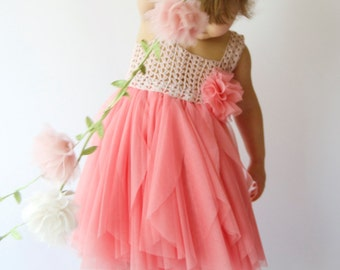Ready to ship.Girl Tulle Dress with Stretch Crochet Top. Flower girl tulle  dress in Coral & Pink