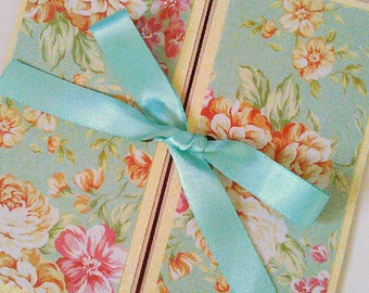 "Vintage Floral Peppermint Green and Peach Wedding Invitation ""Evelyn"" Gatefold with Pocket Insert"