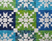 Baby Quilt for sale, baby boy, nursery, baby shower gift, quality patchwork, batik, blue, green, white, water theme.