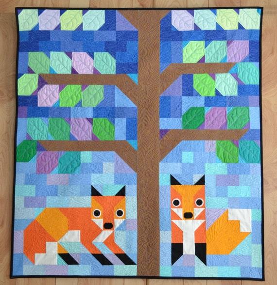 Modern Nursery Quilt Patterns : Modern Foxes quilt pattern Wall Quilt baby quilt Pattern