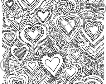 "Digital Download Valentine's Day ""Hearts, Hearts, and More Hearts"" Coloring Page"