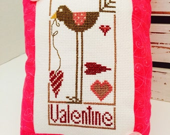 Valentine bird pink Red Cross stitch pin cushion pillow