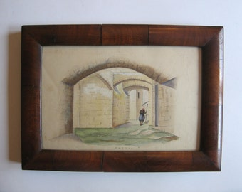 antique watercolor painting, Patmos, Greece
