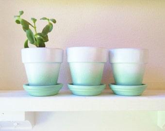 Flower pots, Mint ombre planters, set of planters, succulent planters, modern floral