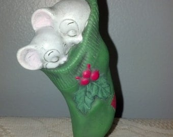 Hand Painted Ceramic Ornament Two Sleeping Mice in a Stocking with Holly