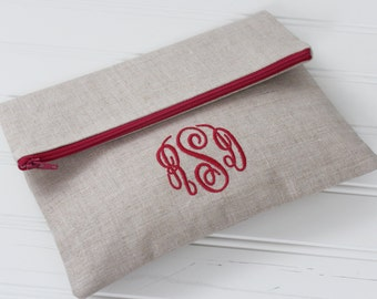 Foldover clutch purse in Linen - Bridesmaid Gift - Mother's Day Gift - Monogram clutch - Personalized Clutch