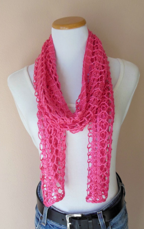 Hot Pink Scarf Hand Knit Lacy Open Weave Light by ...