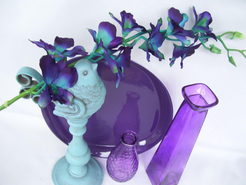 4 stems teal purple ca dendrobium orchids silk flower zoom dhlflorist Gallery