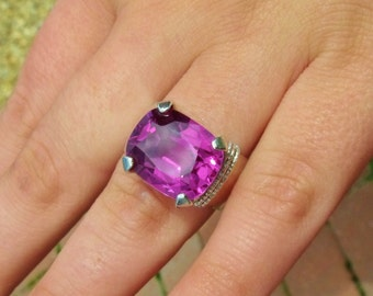 Regal Red Grape Alexandrite With Wide Sterling Silver Band Statement Ring