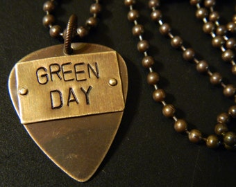 Green Day Guitar Pick Pendant and Altered Natural Brass Ball Chain Necklace