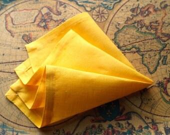 Italian Linen Saffron Yellow Pocket Square/Handkerchief