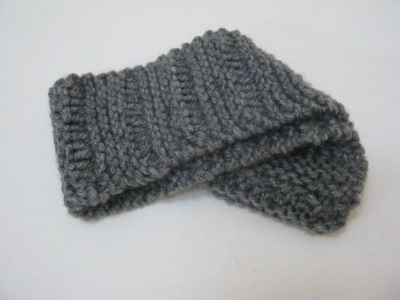 Knitted Headband Patterns Wide : Knit Gray Headband Ear Warmer Wide Hair Accessories Winter