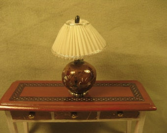 Hand made Pleated lamp shade with Hand painted base, Miniature Doll House
