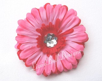 2007 Pink Hair Clip Red Childs Flower Hair Clip / Perfect for Headband or Tutu
