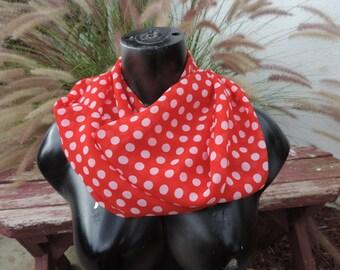 Red and white polka dot infinity scarf loop circle chiffon Retro pin up
