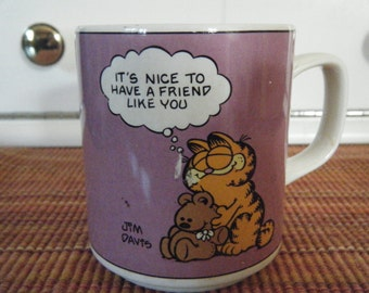 """vintage COLLECTABLE GARFIELD MUG 1978 """"It's nice to have a friend like you"""" by Jim Davis licensed Enesco"""
