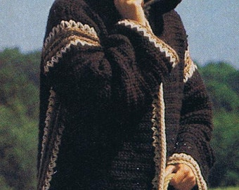 crochet hood jacket sweater  pattern small med and large sizes