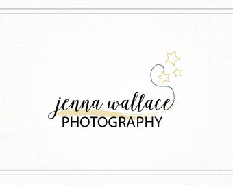 Hand Drawn Premade Photography Watermark + Logo with Stars - L037