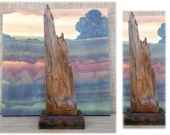Reclaimed 1890s Wood Art Sculpture Textured OOAK Mountain Climber Hiker Outdoorsman Gifts Old Growth Lumber Floor Joist Recycled Upcycled