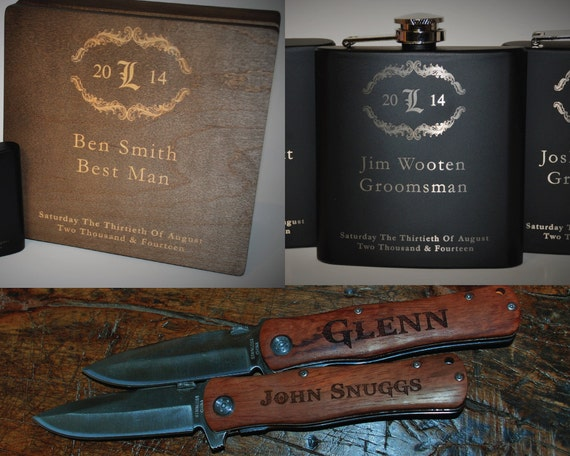 10 Custom Cigar Boxes 10 Custom Flasks 10 Custom Knives Groomsman Gift Set Laser Engraved & Personalized Best Man Wedding Gift Engraving