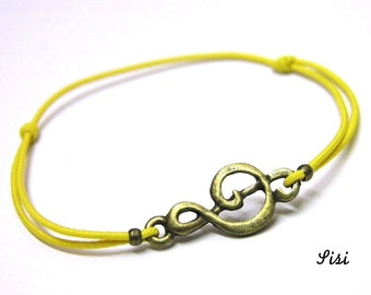 Music yellow cord bracelet