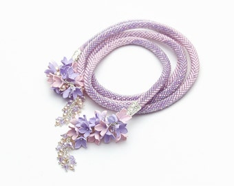 Bead Crochet necklace, Serenity necklace, Rose quartz and pink necklace, long jewelry,  Beadwork necklace, Floral neclase, Crochet necklace