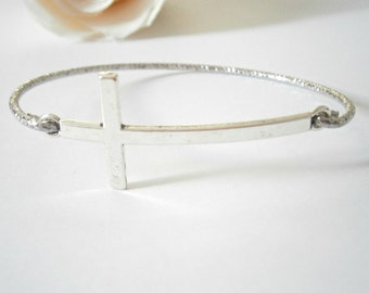 Sideways Cross Bracelet - Bangle Bracelets - Silver tone Jewellery - Christian Jewelry - Cross Bracelets - Confirmation Gift