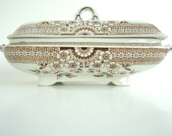 Antique 19th Century AF & Co Foley Staffordshire transferware covered serving dish