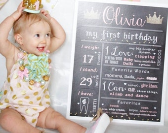 Princess Birthday Chalkboard Poster Sign: Year Girl / Boy First Birthday Crown Princess Chalkboard Stat digital file prop/decor