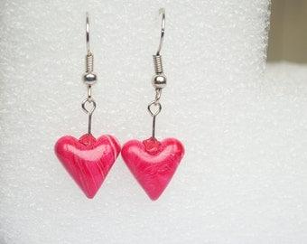 Polymer clay earrings Pink-red earrings Spring earrings Dangle earrings Heart Small earrings Valentines day Cute earrings Casual Simple