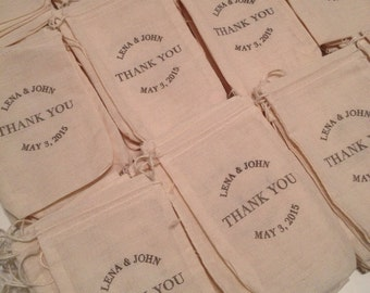 Custom Designed Stamped Muslin Bags -set of 100