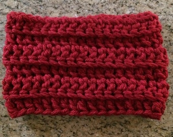 Crochet, Womens Chunky RED COWL, Cowl, Scarf, Infinity Scarf, Cranberry, Crochet Scarf, Crochet Cowl