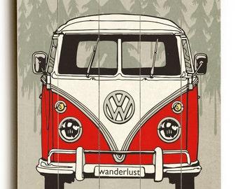 Wooden Sign, VW Print, Home Decor, Inspirational Sign, Vintage Sign, Wall Art, Distressed Wood Sign, Wanderlust, Wood Art