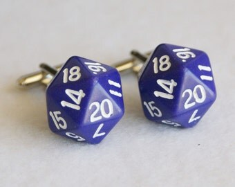 Purple 20 Sided Dice Cufflinks d20 Free gift bag