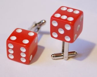 Red 6 Sided Dice Cufflinks Free gift bag Birthday Gift Ideas