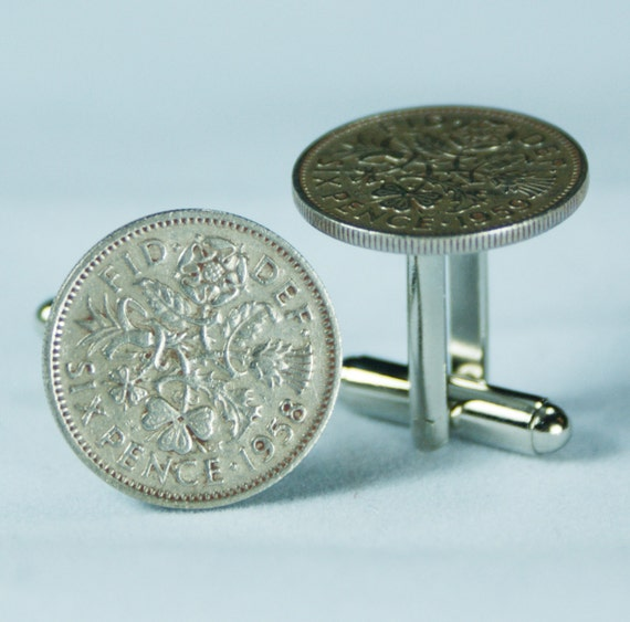 6 Pence Wedding Gift : Six Pence Coin Cufflinks Free gift bag Crown Flower Design Wedding ...