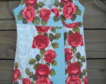 Red Rose Vintage Wrap Pinafore
