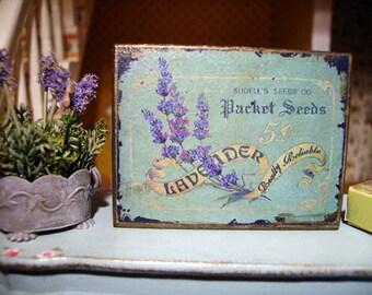 Lavender Seeds Miniature Wooden Plaque 1:12 scale