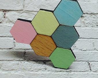 Geometric Hexagon cluster pastel lasercut wooden brooch